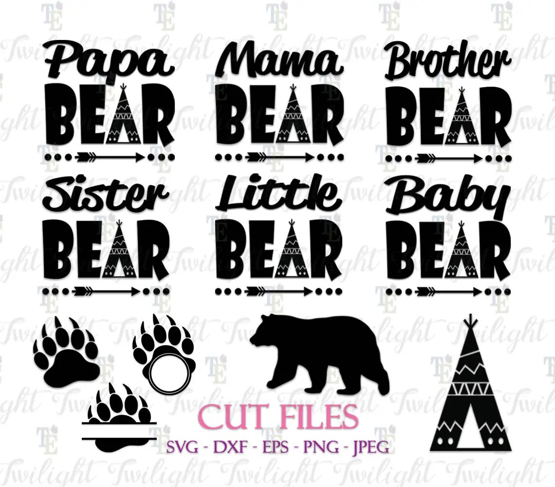 Papa Bear Svg Cut Files Mama Bear Svg Cut Files Brother