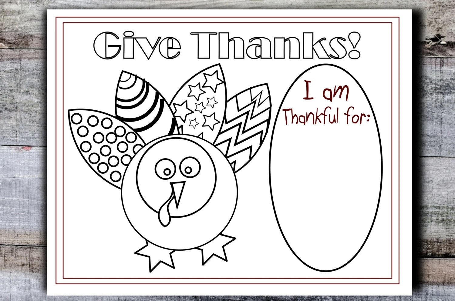 Printable Thanksgiving Placemat Kids Table Turkey Coloring