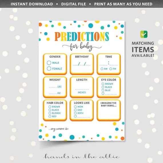 Baby Shower Prediction Cards Printable Game Sheet Template