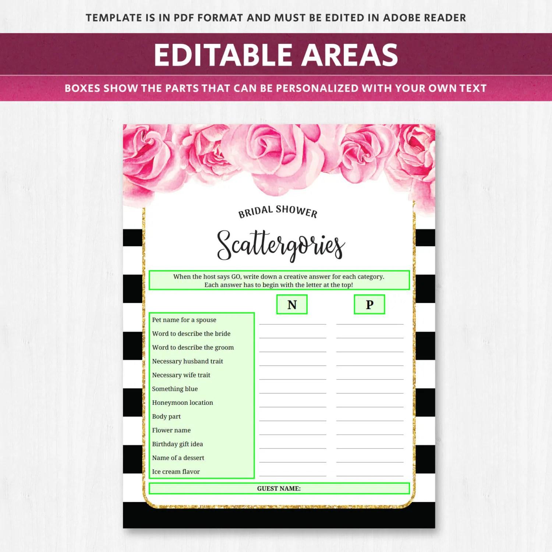 Bridal Scattergories Categories Game Deep Pink Fuschia