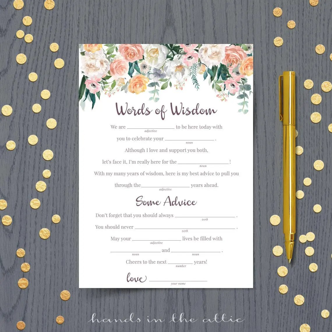 Wedding Mad Libs Template Funny Printable Advice