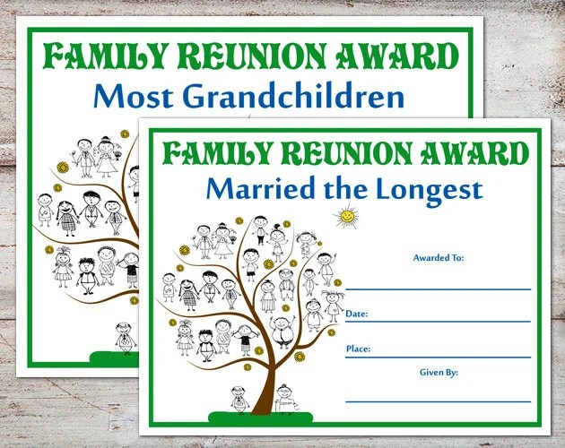 Family Reunion Awards Family Reunion Certificates Family Reunion Family Parties Family Awards Certificates Instant Download