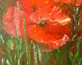 Floral Painting, Decorative Painting, Field of Poppies, oil on canvas, knife