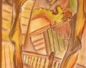 Decorative Painting, Autumn Landscape, Pastel on Paper, Passe-partout, Framed