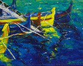 Decorative Painting, Impressionism, Seascape, Boats in Summer, Acrylic on canvas, Knife