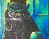 Decorative Painting, Little Gentleman, Personalized Portraits of Pets, Acrylic on canvas