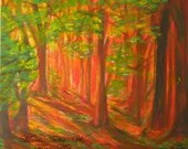Decorative Painting, Mural Painting, Mystical Forest in Red, Acrylic on Canvas