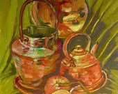 Decorative Painting, Mural Painting, Still life with copper utensils, Oil on Canvas, Knife