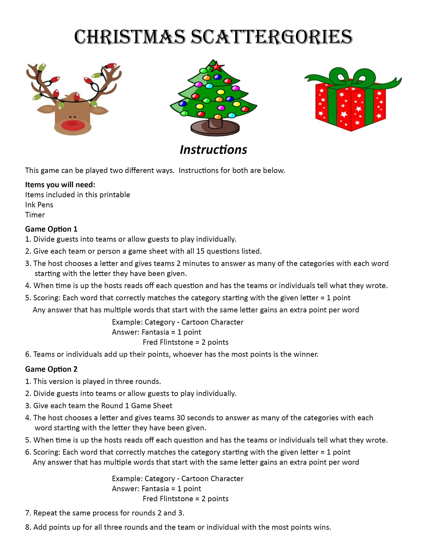 Slobbery Christmas Scattergories Printable