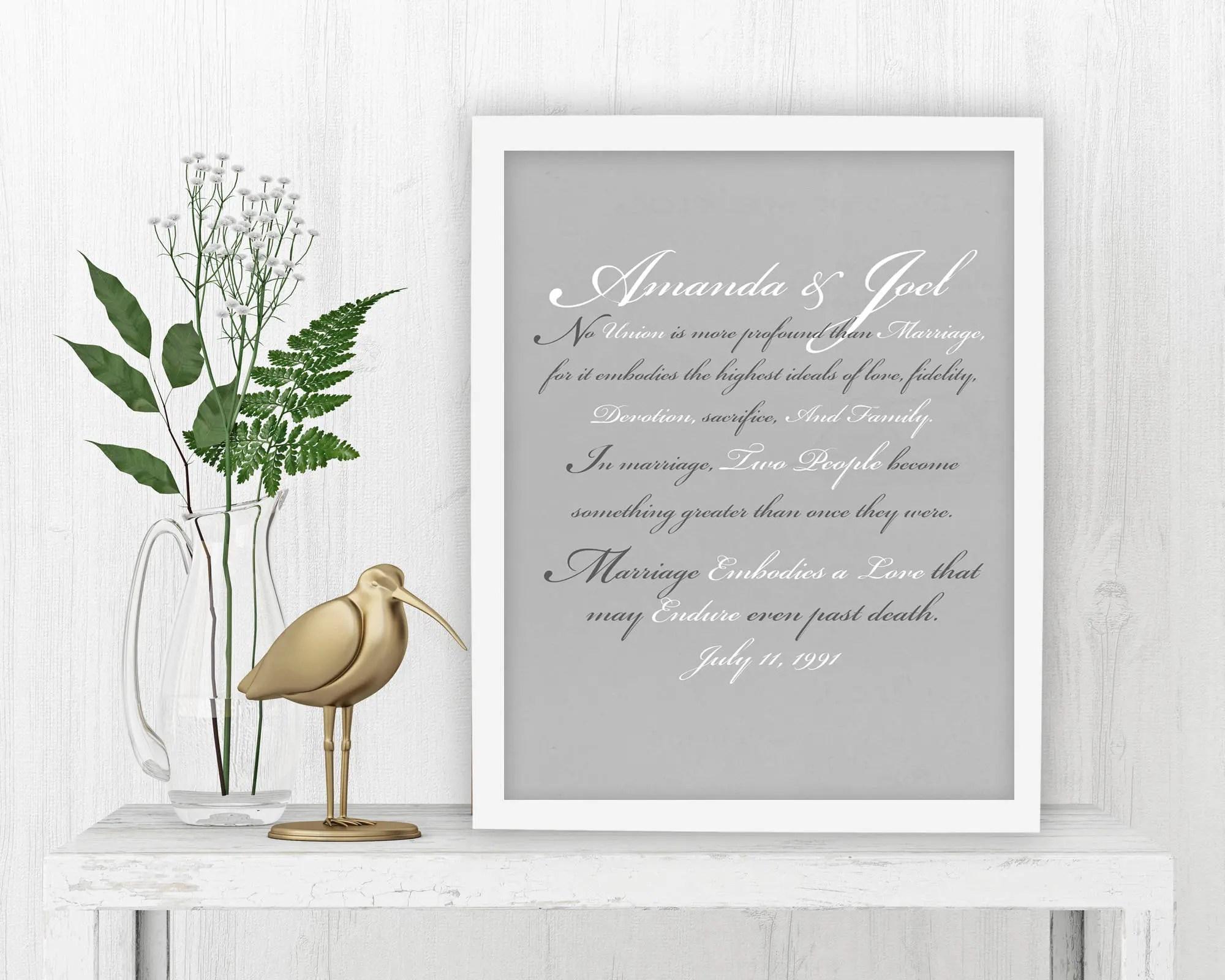 Wedding Vow Art Vows On Canvas Framed Gift Wedding Print