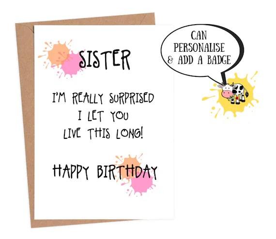 Funny Birthday Card Sister Birthday Card Funny Sister Etsy