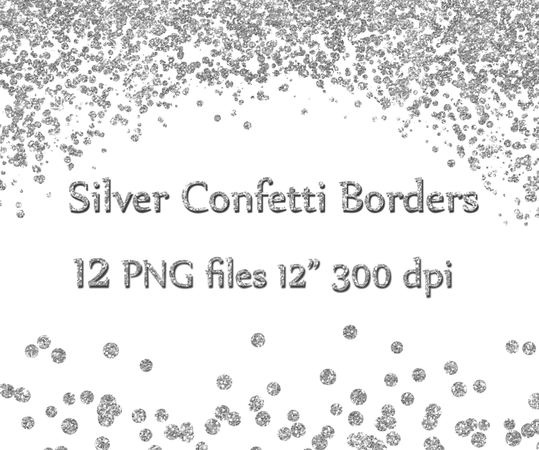 Silver Confetti Borders Glitter Confetti Clipart