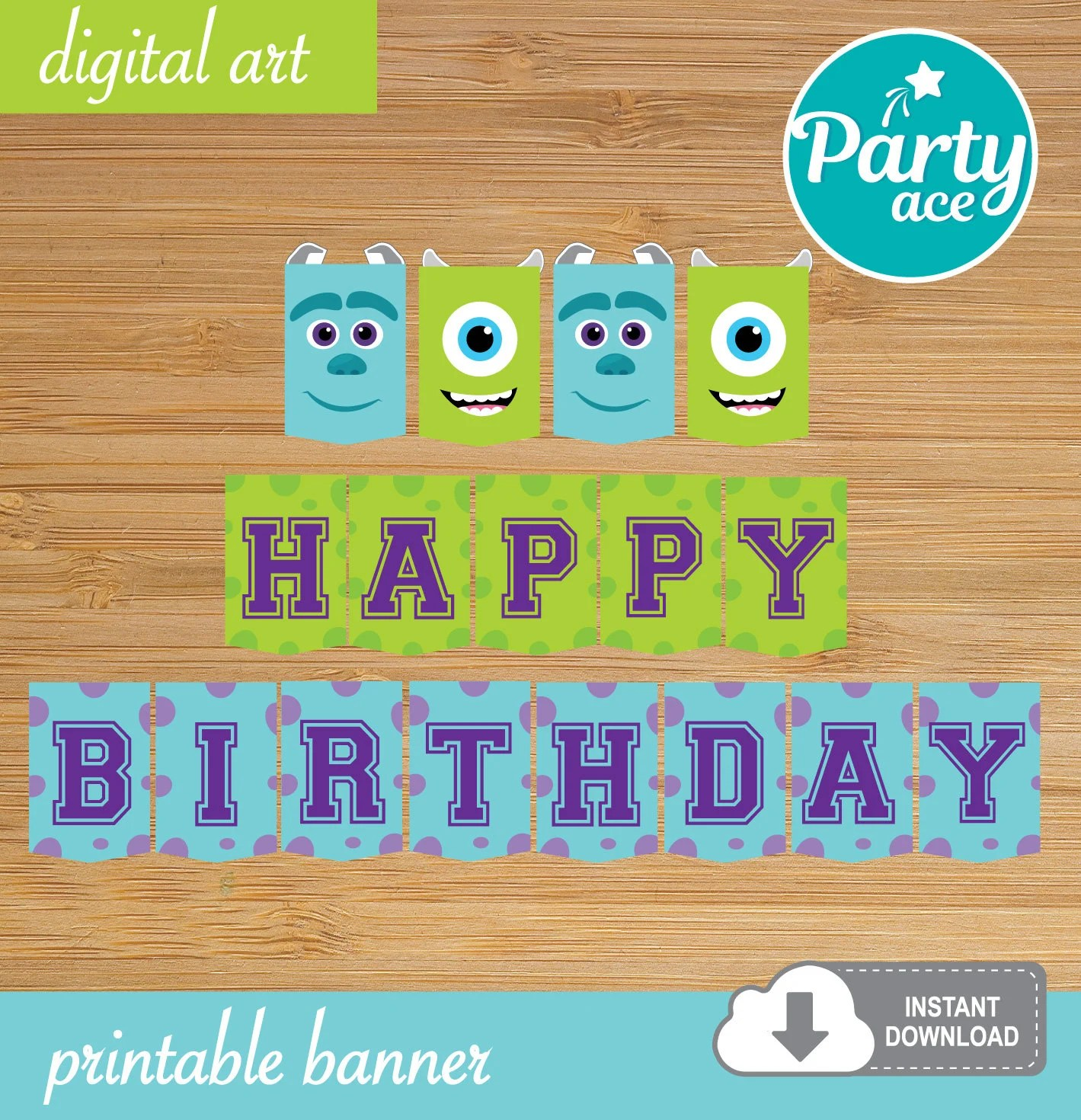 Monsters Inc Happy Birthday Printable Banner With The Etsy