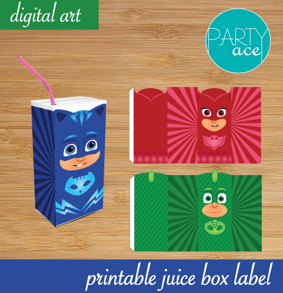 Pj Masks Birthday Party Printable Juice Box Labels Etsy