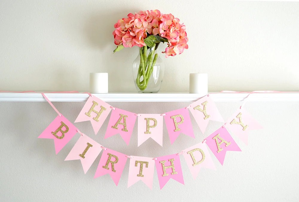 Pink And Gold Birthday Banner Happy Birthday Banner First Etsy
