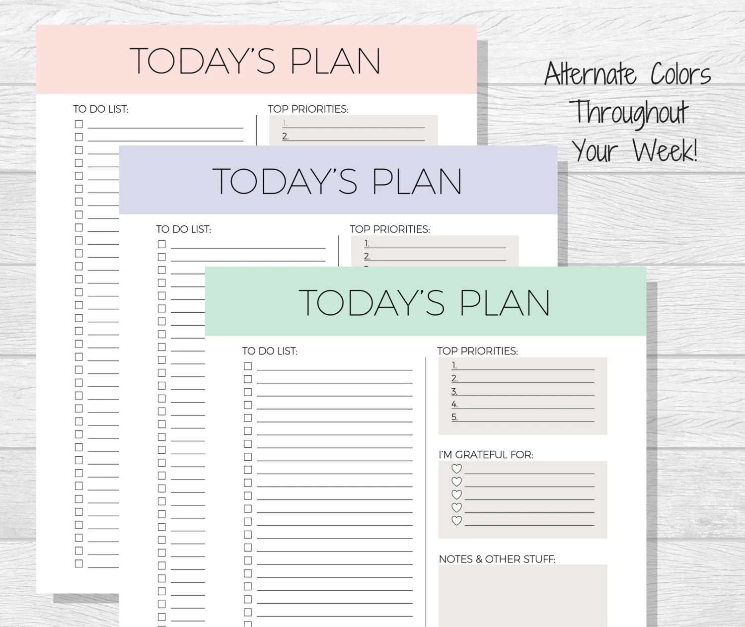 Daily Planner Printable Today S Plan Daily Schedule