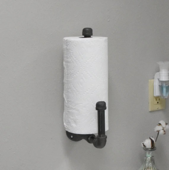 wall mounted paper hand towel holder rustic industrial paper etsy
