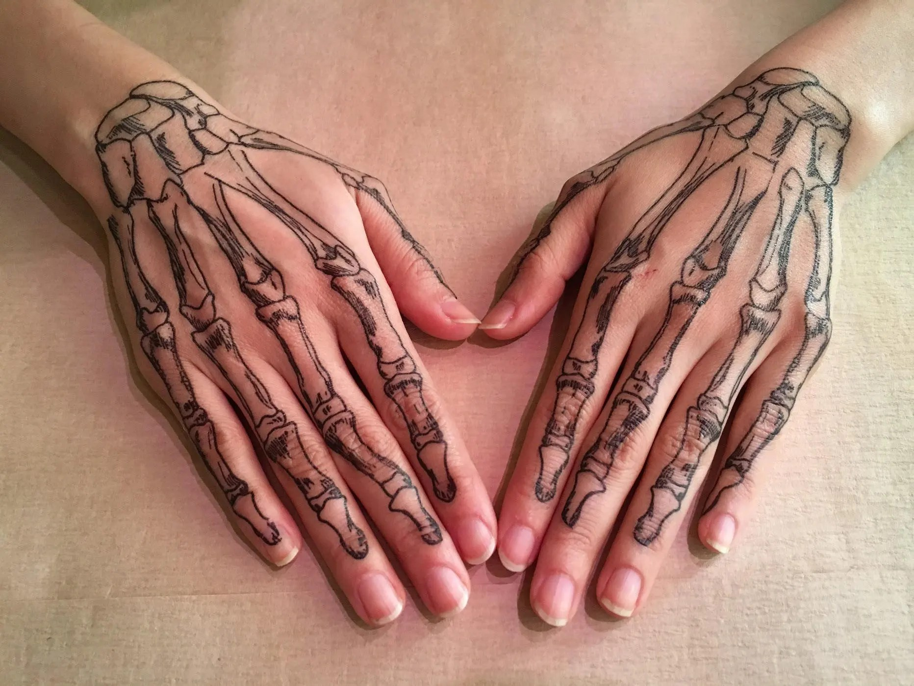Coco Skeleton hands temporary tattoos for cosplay. Skull