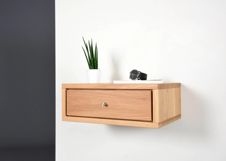 Oak Floating Nightstand Bedside Table Drawer In Solid Oak