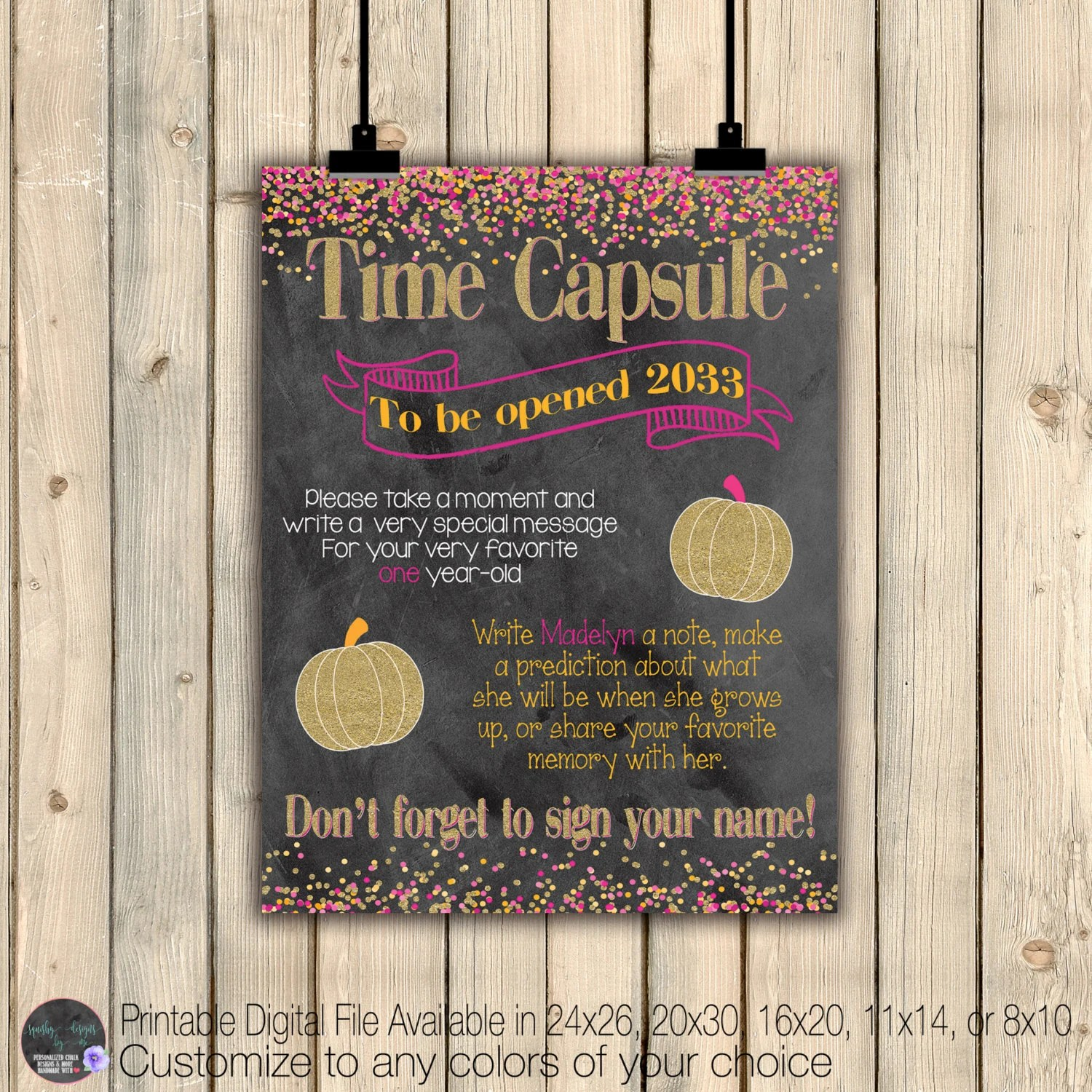 Banners Signs Pumpkin Time Capsule Instructions First 1st Birthday Keepsake Pumpkin Birthday Decor Baby Shower Time Capsule Digital Time Capsule Sign Paper Party Supplies