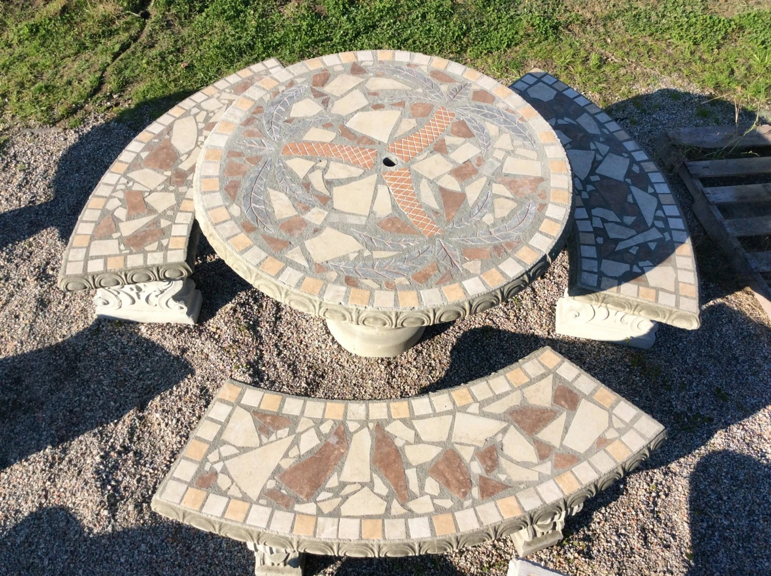 patio set patio table outdoor tables mosiac table palm etsy