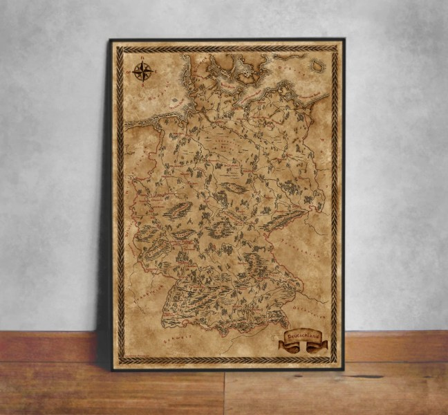 Fantasy style illustrated map of Germany art Germany map