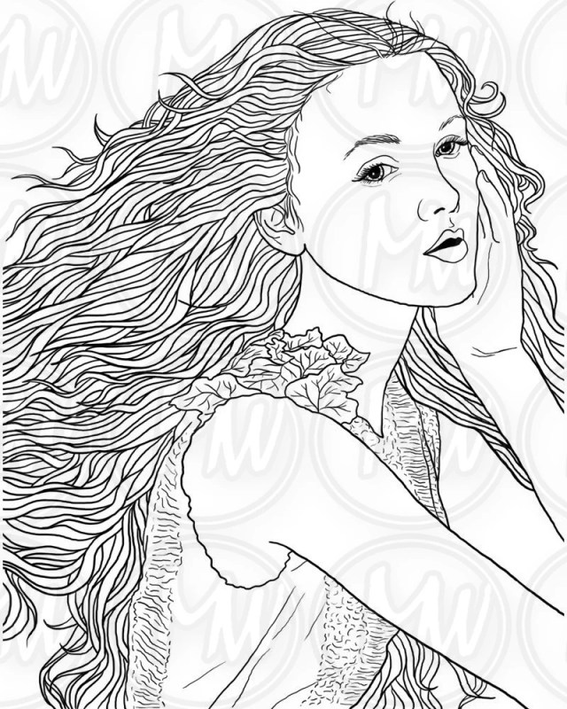 Adult Coloring Page, Woman, Face, Long Hair, Illustration, Beautiful,  Printable, Digital Stamp, Black and white, Instant download #22