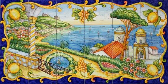 ravello paysage peinture sur carrelage fresque de tuile peinte a la main carreaux mural en ceramique italienne cote amalfitaine italie art