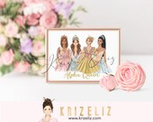 Queen Girl Illustration - Fashion illustration print - personalized gifts for her -  women art illustration - gift ideas for her