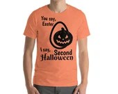 The Second Halloween Over Easter (Orange) Bella + Canvas 3001 Unisex Short Sleeve Jersey T-Shirt with Tear Away Label