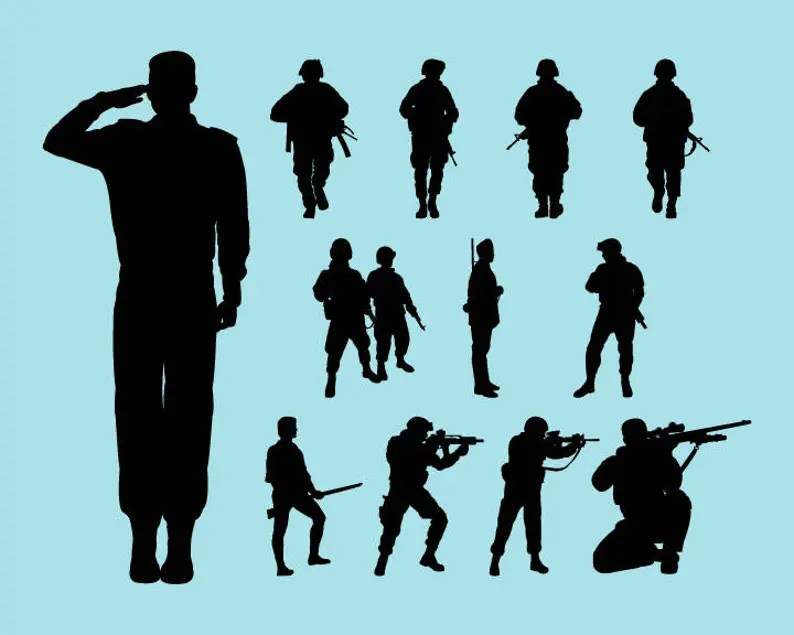 Download SVG DXF PNG Cut Files Silhouette Soldier Cutting File | Etsy