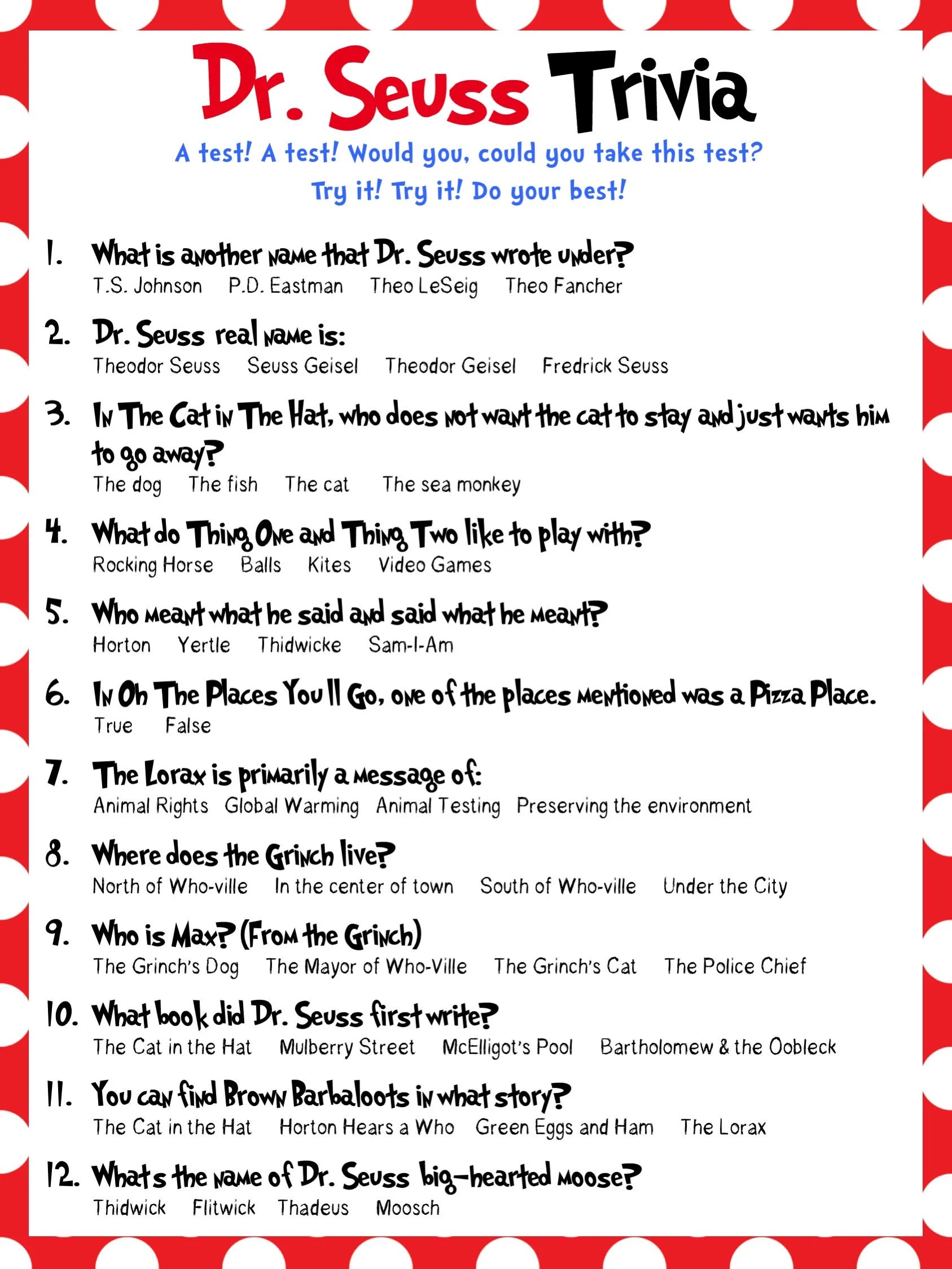Dr Seuss Trivia Baby Shower Bridal Shower Classrooms