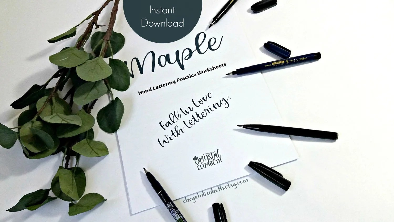 Maple Style Hand Lettering Worksheets Basic Lower And