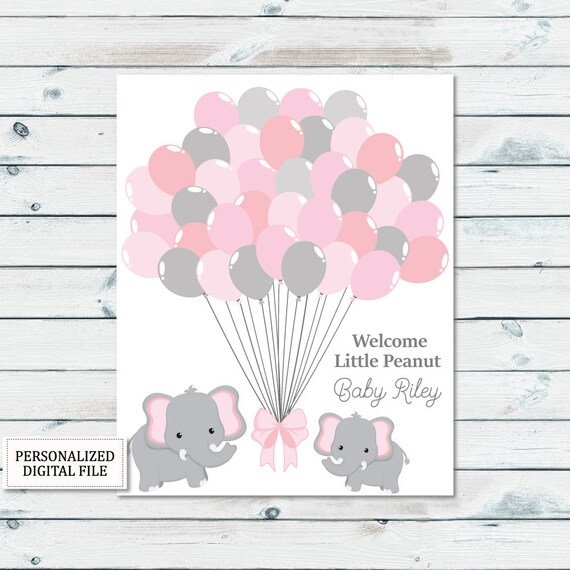 Elephant Guestbook Printable Baby Shower Guestbook Sign Elephant Balloons Guestbook Sign Baby Guest Book Printable Guestbook Download