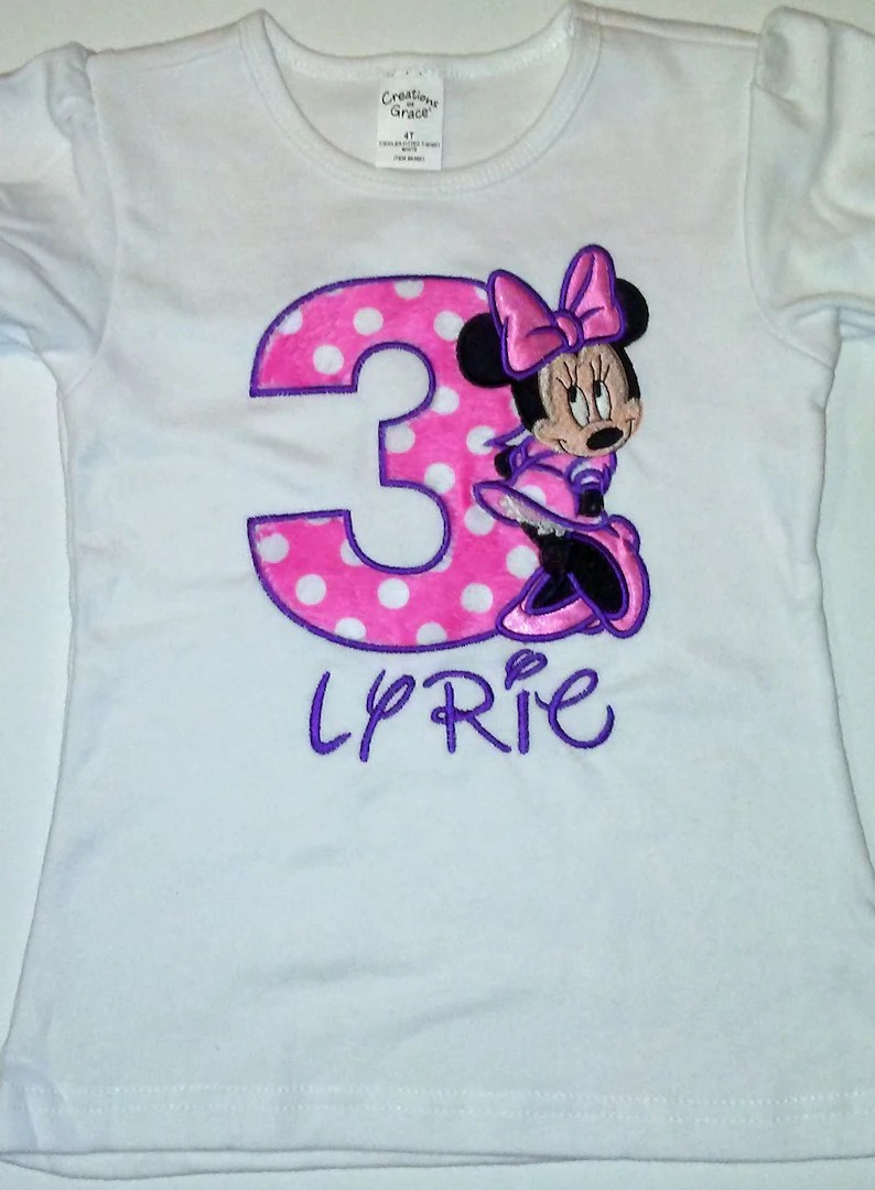 Baby Girls Clothing Girls Clothing Pink Purple Standing Minnie Mouse 3rd Birthday Shirt Personalized