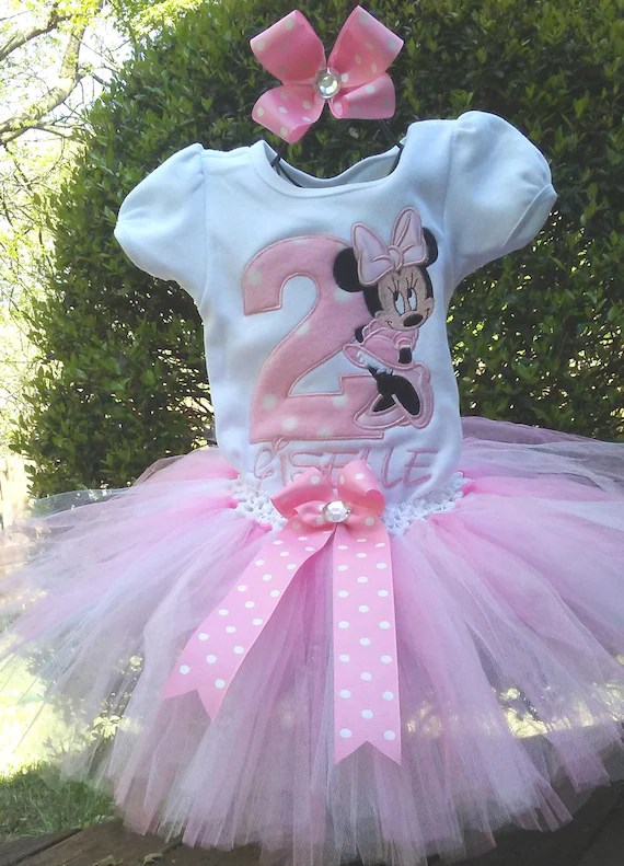 Minnie Mouse Pink 2nd Birthday Outfit Onesie Shirt Tutu Free Etsy