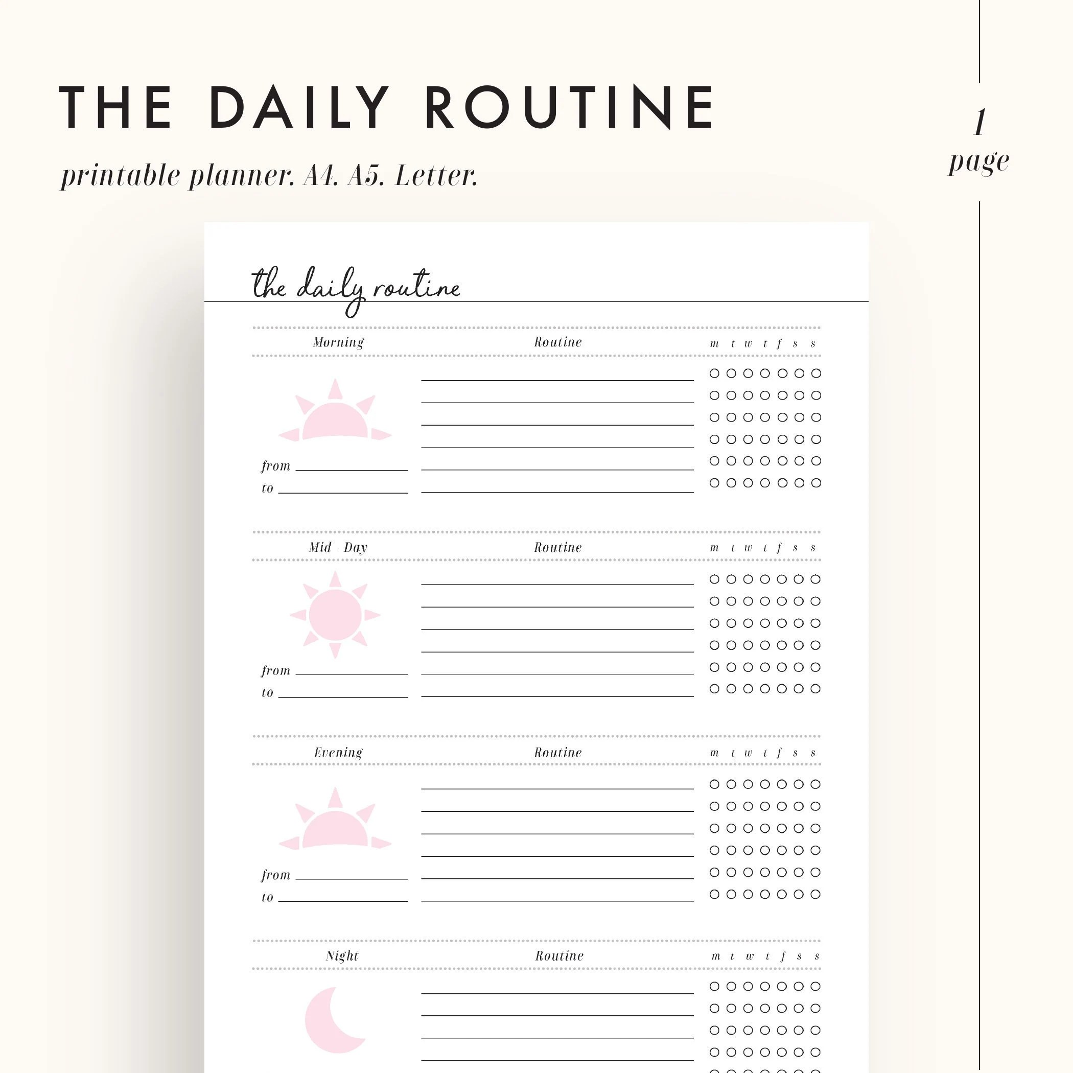 Daily Routine Planner Routine Planner Printable Morning