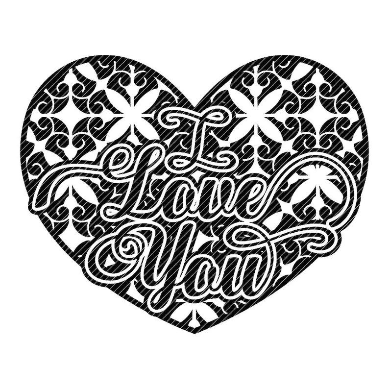 Download Damask I LOVE YOU scroll heart floral Valentines mandala ...