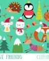 Christmas Animals Clipart Festive Holiday Animals Clip Art Etsy