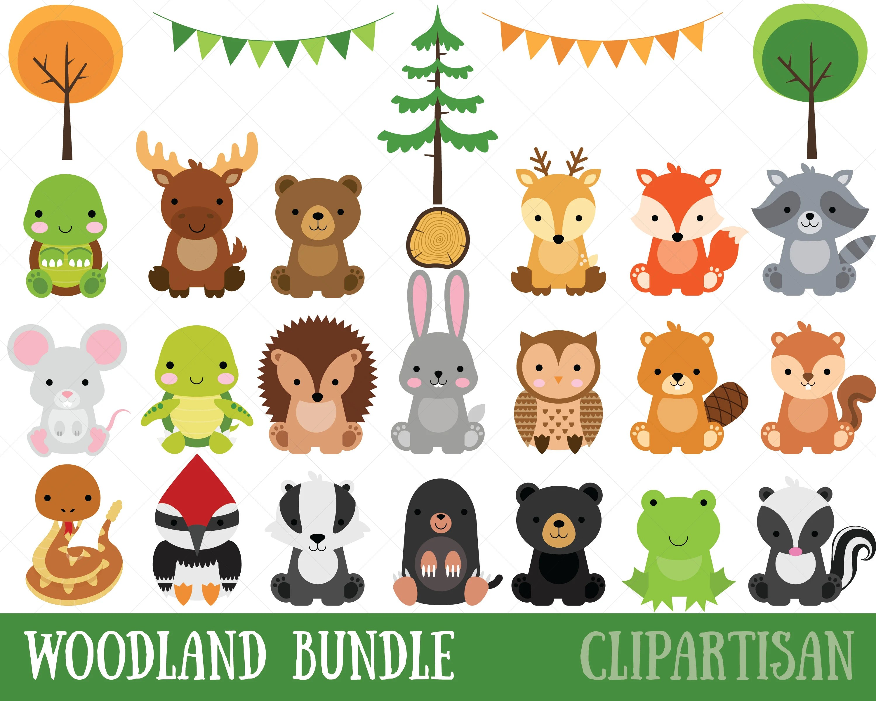 Woodland Baby Animals Clipart Forest Animal Clipart