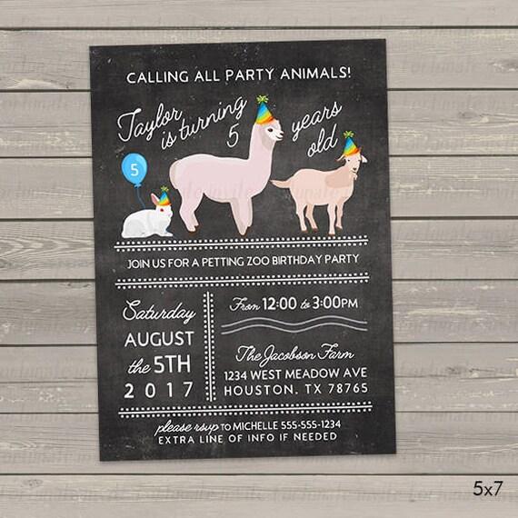 Petting Zoo Birthday Invitations Party Animals Any Age Etsy
