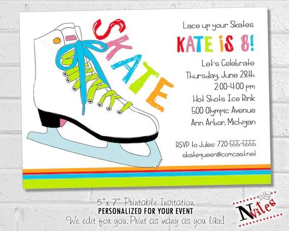 ice skating invitation ice skating birthday party invitation printable rainbow skating party 80s colorful ice skate
