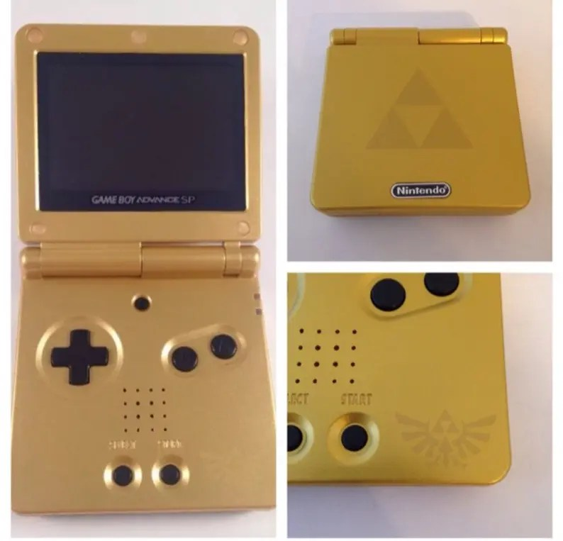 Nintendo Game Boy Advance SP AGS-101 Custom Gold Legend of | Etsy