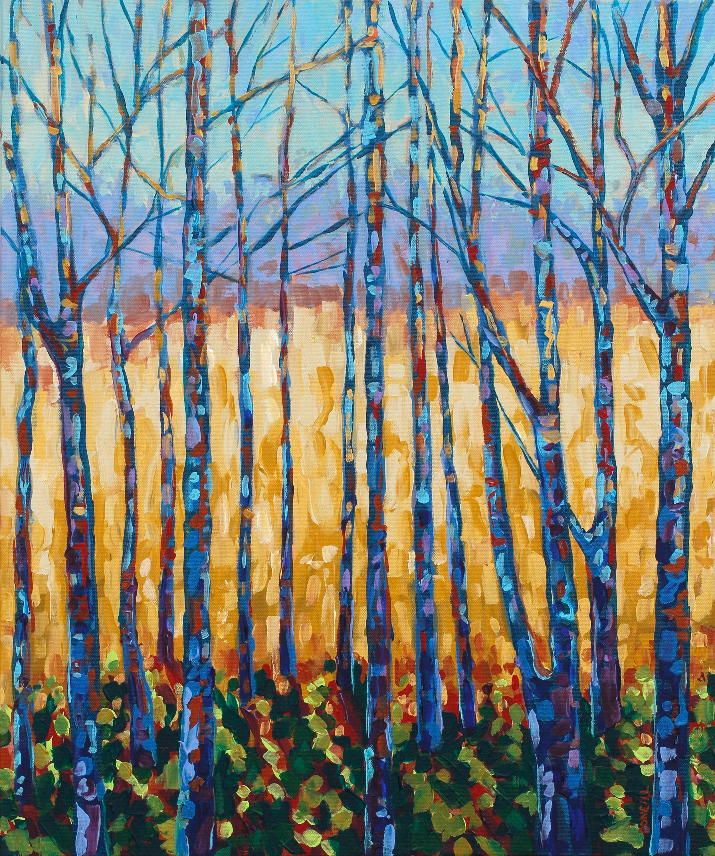 Field And Forest Tree Study Branches Golden Field Gold