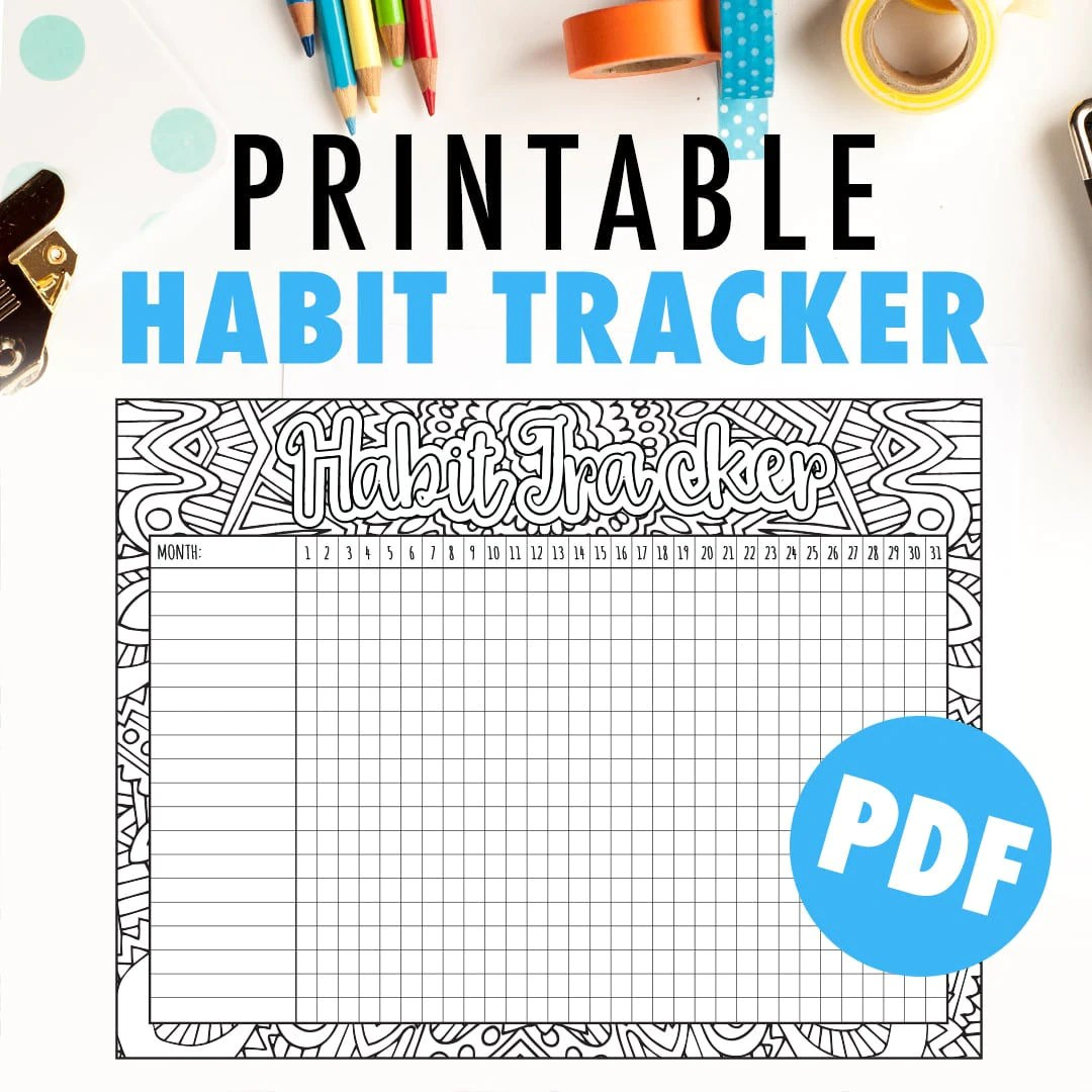 Habit Tracker Printable Monthly Habit Tracker Or Goal