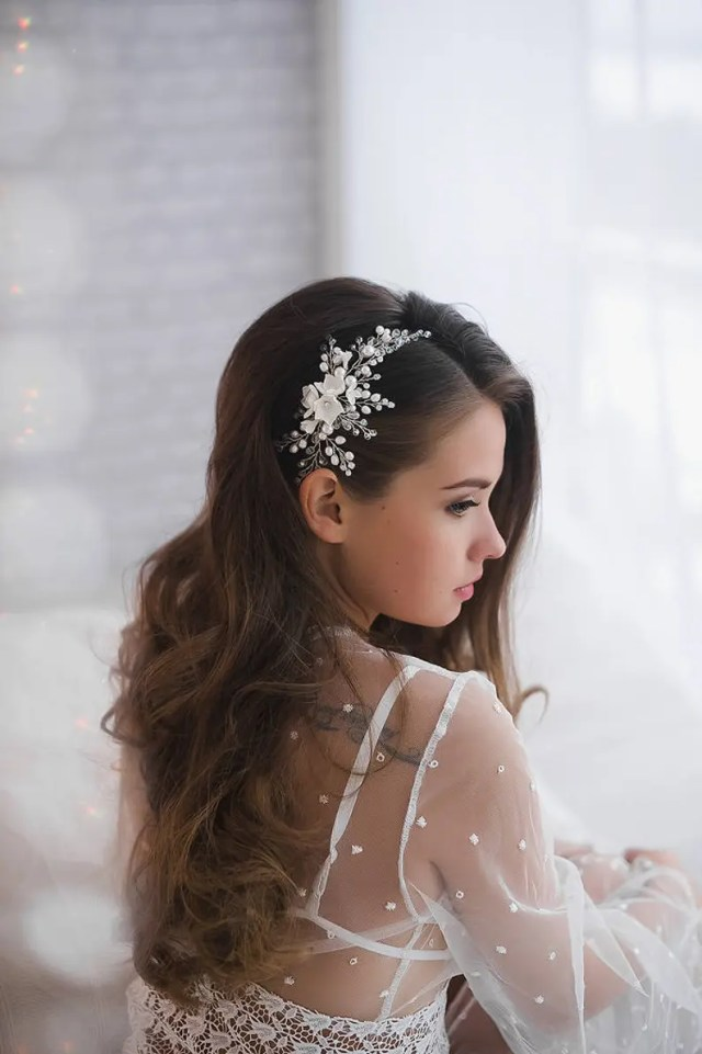 floral ivory bridal hair comb pearl silver gold wedding headpiece flower headdress bridal hair piece wedding headband accessories comb