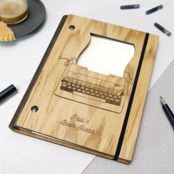 Carnet de notes de lécrivain en bois personnalisé image 0