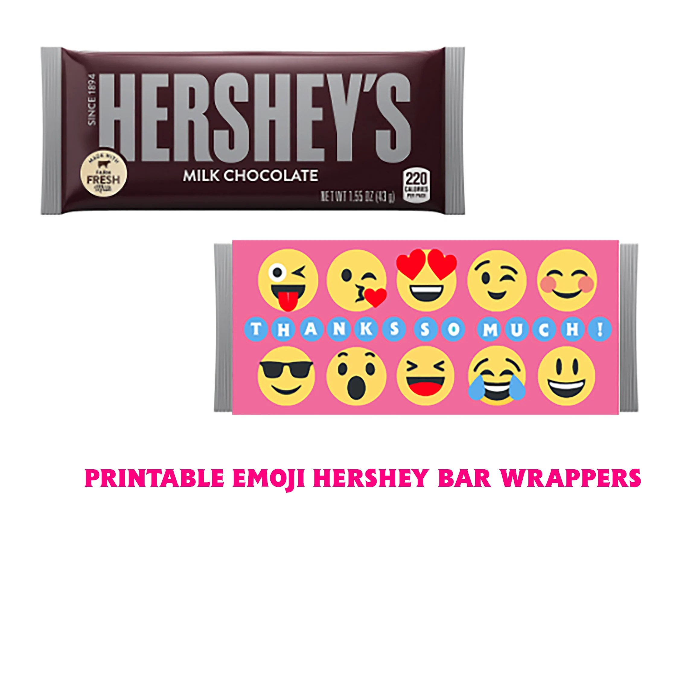 Printable Emoji Hershey Candy Bar Wrapper Perfect For