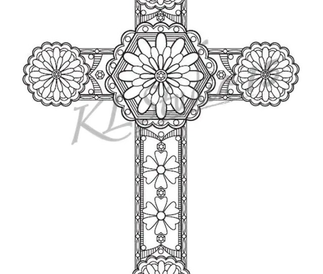 Cross Coloring Page Instant Download Relax Cross Designs Etsy