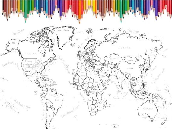 World Map Coloring Page Printable World Map Scrapbook Size Etsy